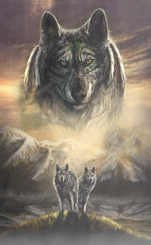 Анимация Два волка стоят на фоне гор, над ними в грозовом небе образ вожака, pasigut