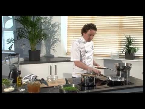 Michelin star chef Tom Kitchin cooks his simple fresh pea soup using the Electrolux induction hob