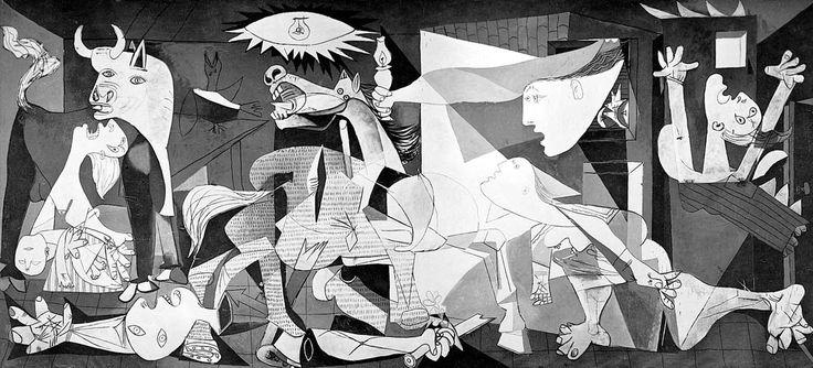 Γκερνίκα ή Γκουέρνικα (1937) Ο πίνακας ήταν παραγγελία της Ισπανικής κυβέρνησης για την Διεθνή Εκθεση του Παρισιού το 1937. Έμπνευση για τον Πικάσο ήταν η φρίκη του εμφυλίου στη Ισπανία.