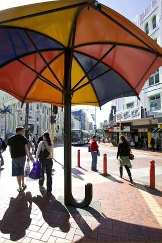 wellington art icons - LOVE KIDS AT THE ZOO COULD BE CHILLING UNDER THIS ICONIC UMBRELLA, OR MAYBE THE TUATARA AND KIWI ARE LOOKING FOR SOME SHADE FROM THE LIGHT Sculpture: 	Umbrella  Artist: Peter Kundycki  Material: 	Steel, aluminium  Date: 1990  Location: 	Cnr Cuba Street & Dixon Street LOVE