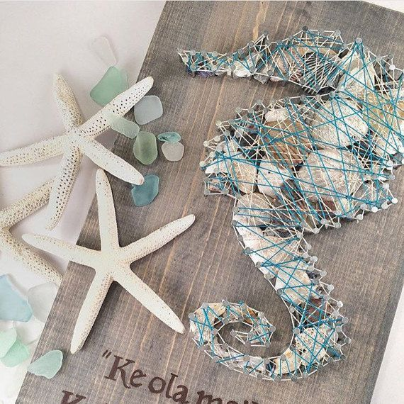 STRING ART - ONLY $44 and has 136 Nails!!!!! Sea horse nail and string art with sea shells. Unique beach art. Modern art. Sea shell bathroom decor. Nautical decor.