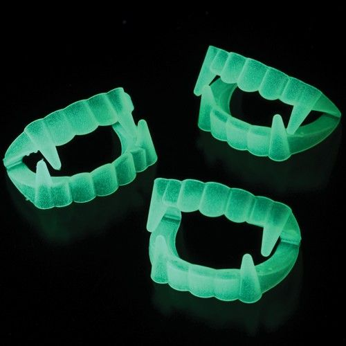 glow teeth 144 pieces dress up your vampire costume with these glow in - Halloween Party Store