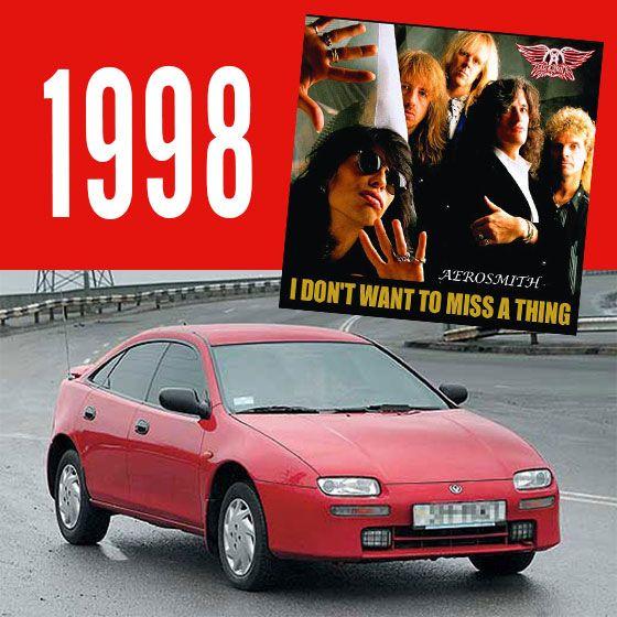 You wouldn't have missed a thing in your Mazda 323 Astina in 1998! #mazdaaustralia #hornsbymazda #cars #music #aerosmith #classiccars