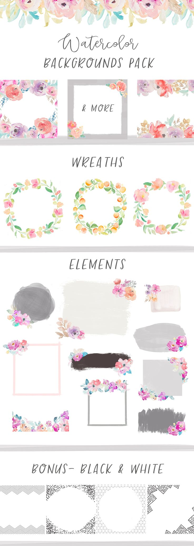 Introducing the Watercolor Backgrounds Mega Pack. Included in this download are tons of hand painted floral elements, background borders, frames, and more. Read below to see just what's included in this mega awesome mega pack.