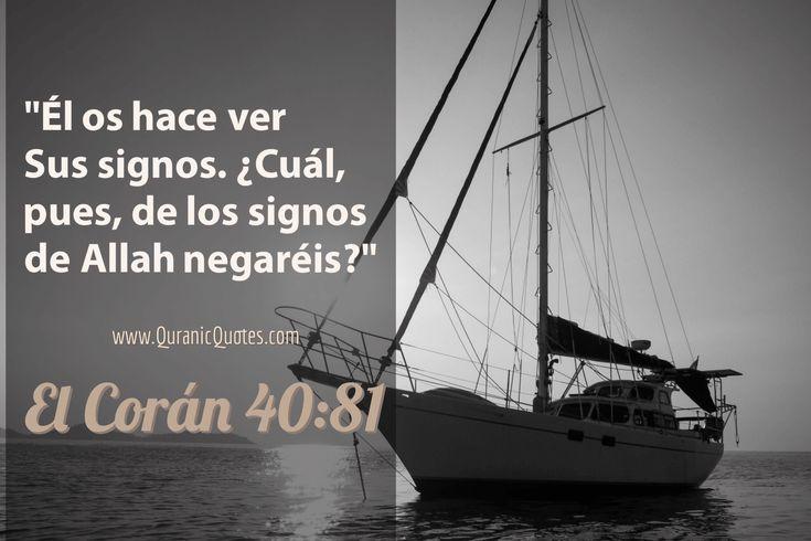 #44 El Corán 40:81 (Surah Ghafir) And He shows you His Signs: which then of Allah's Signs will you deny? Él os hace ver Sus signos. ¿Cuál, pues, de los signos de Alá negaréis?