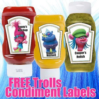 FREE Trolls Birthday Party Printable Condiment Label Files