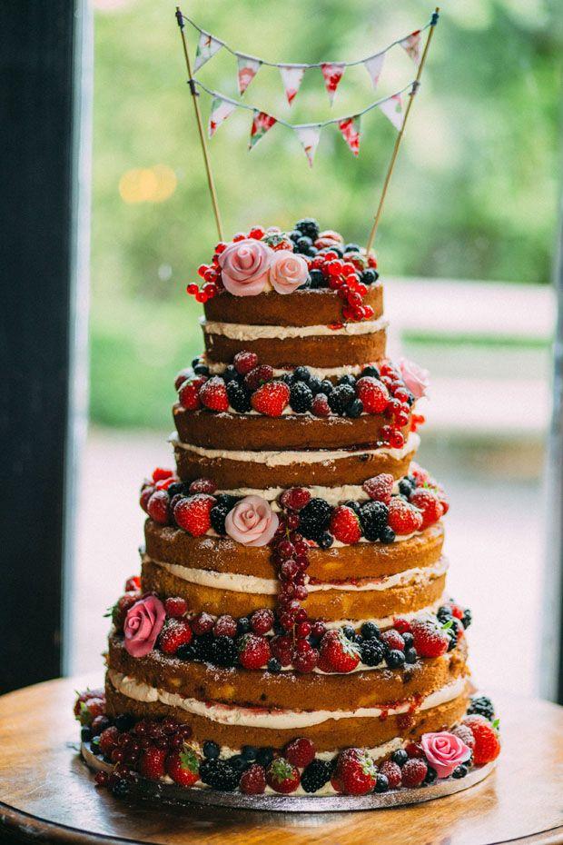 Naked Wedding Cake | www.onefabday.com | #Wedding #Cake #NakedCake