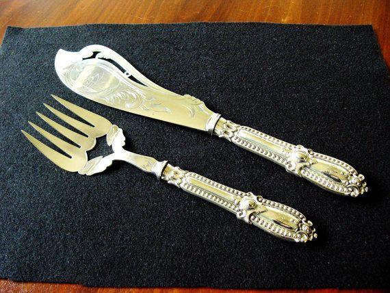 Silverplate Fish Servers ... Ornate Fish Set by DecorativeVintage