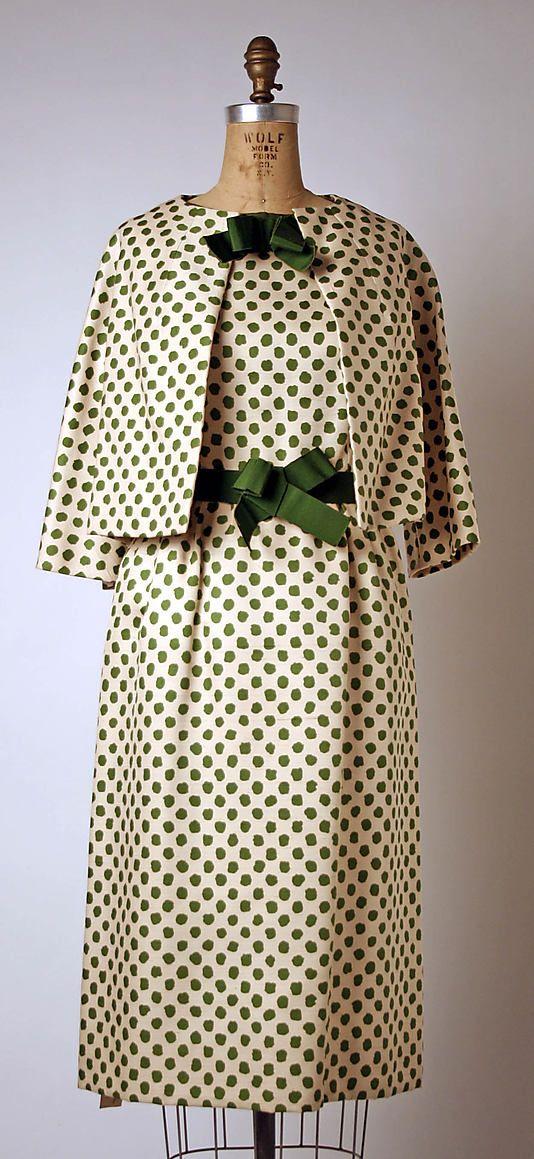 Ensemble, House of Dior, Designer Yves Saint Laurent, S/S 1960, French, silk