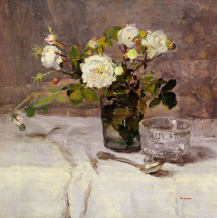 The Athenaeum - GONZALES, Eva French Impressionist (1849-1883)_Roses in a Glass - circa 1880-1882