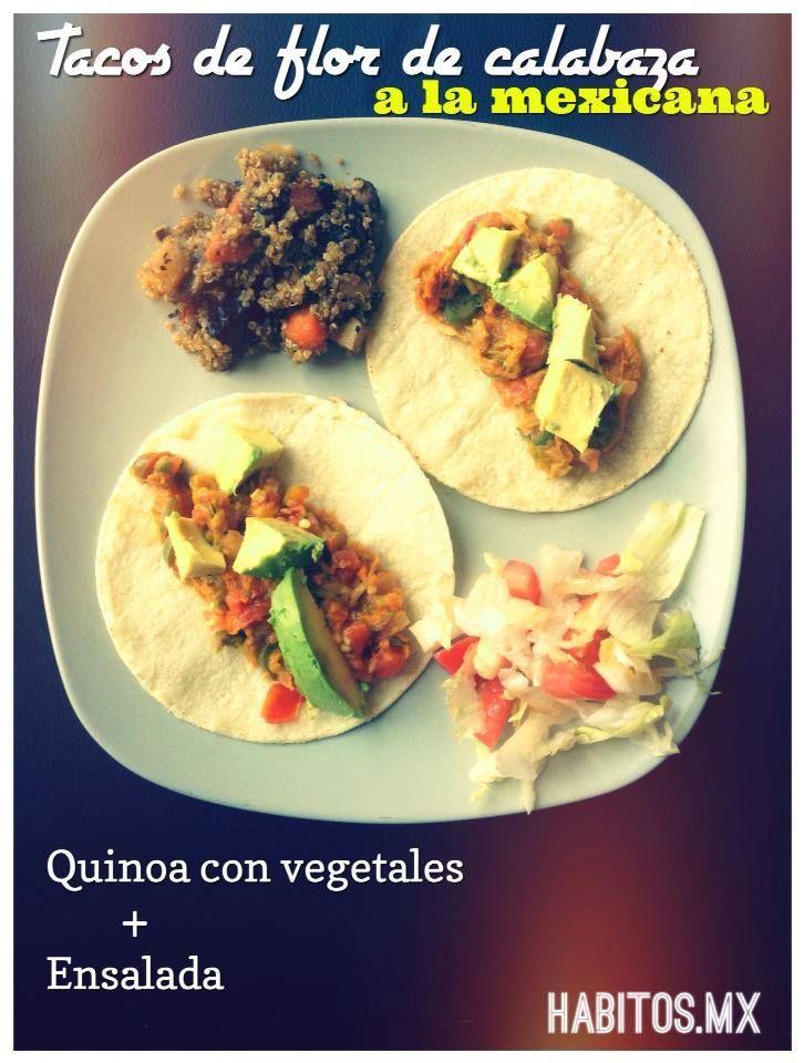 Tacos de flor de la calabaza a la mexicana.