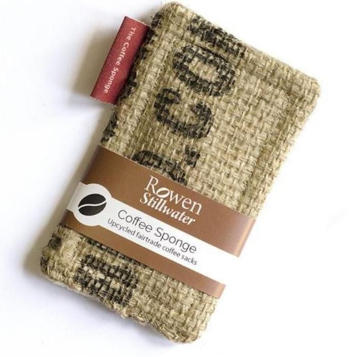Eco Friendly Repurposed Coffee Sack NoSponge Scourer Hessian Front and Scrim Back with Organic Bamboo Core