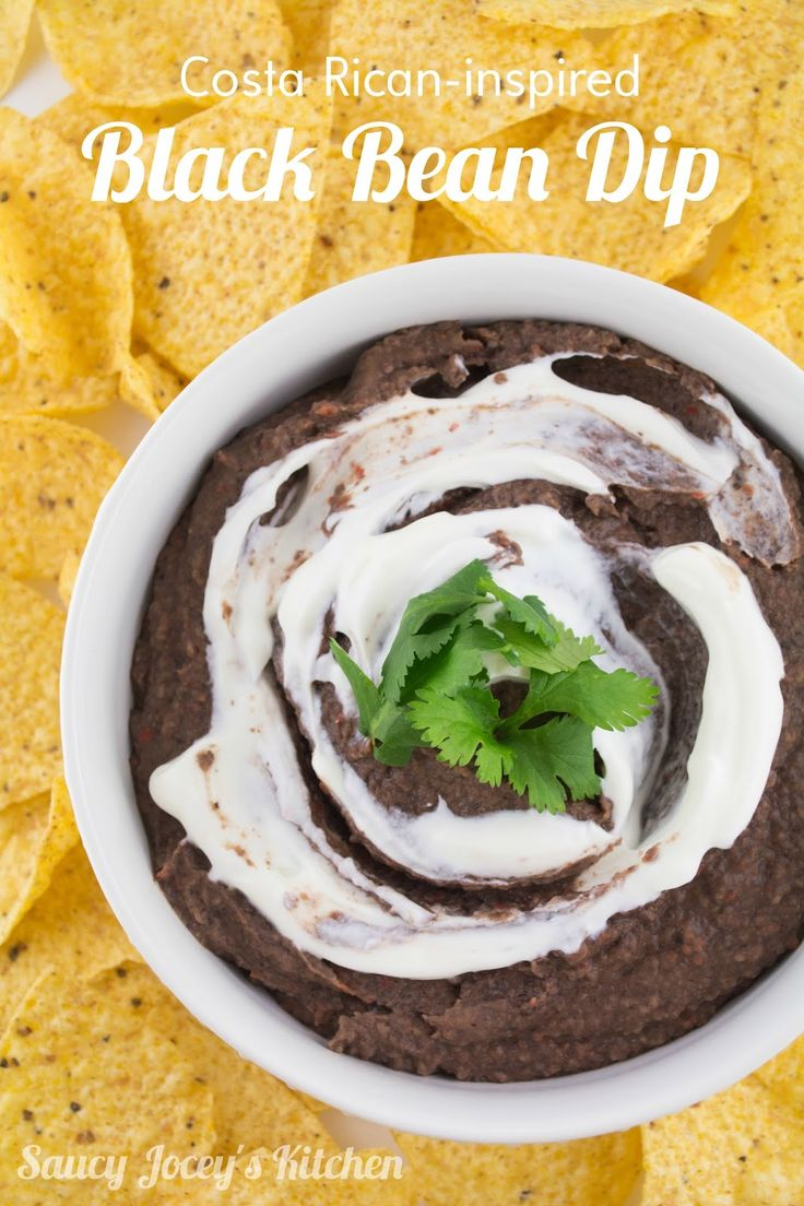 "Enjoy a little ""pura vida"" flavor with this Costa Rican-inspired Black Bean Dip! Black beans and roasted veggies blend together to create a savory, light dip."