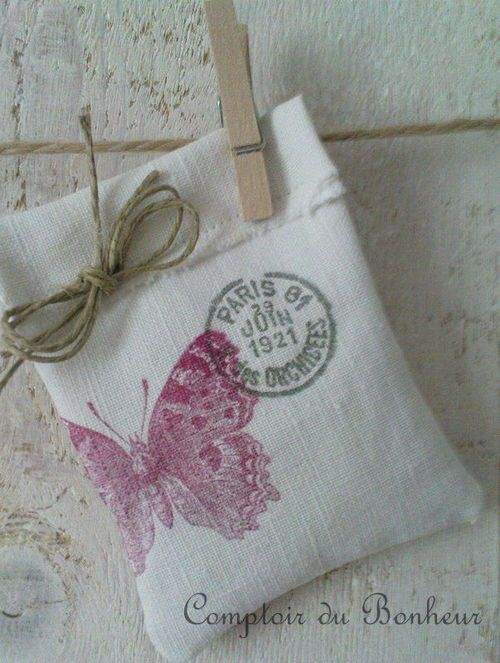 stamped cotton bag...love, love, love this. Fill with lavender. Use stamps and color of personal choice.