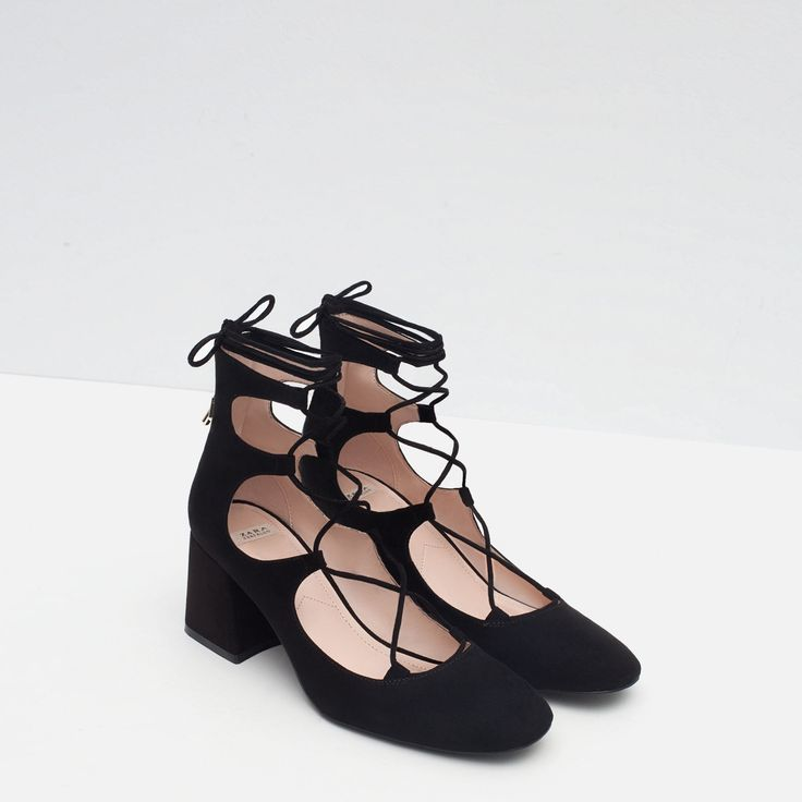 Zara Block Lace Up Heel