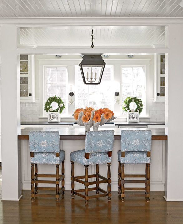 Cottage Kitchen Love The Blue Patterned Chairs Wreaths In Window White Paneled Ceiling Shell Dish On Bar