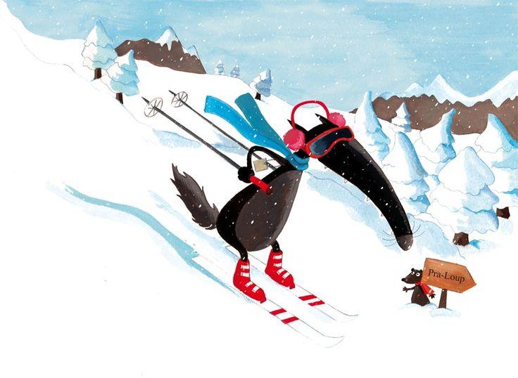 Loup fait du ski