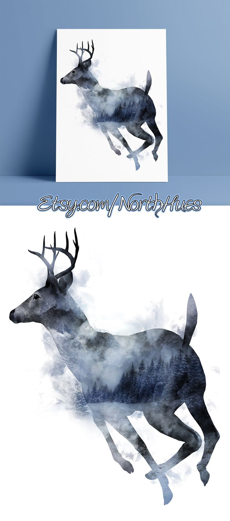Winter Forest Deer Poster! Instant Download Poster Design. Double Exposure. https://www.etsy.com/no-en/listing/524098146/winter-forest-deer-double-exposure?ref=shop_home_active_5