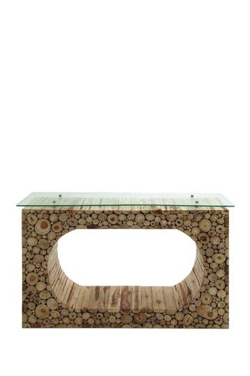 Woodland Imports 38429 Hole Klaten Portable Console Table Hole Klaten  Portable Console TableA Unique Hole Klaten Console Table, This Is Designed  To Artu2026