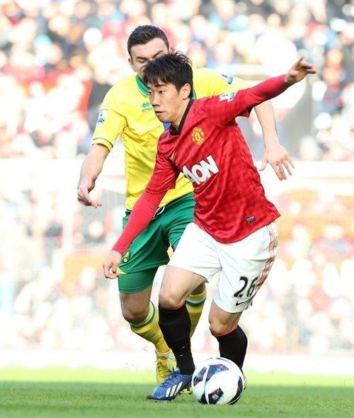 Man Utd 4 Norwich City 0 in March 2013 at Old Trafford. Shinji Kagawa in action. He scored a hat-trick in the game #Prem
