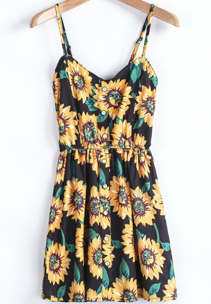 Would love this if it were a little longer... Thin strap sun flower mini summer dress find more women fashion ideas on www.misspool.com