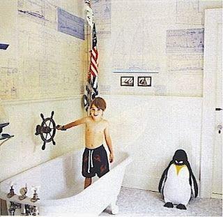 "love the marine maps wallpaper , the flag & the  ships wheel above the ""boat"" tub!    http://4.bp.blogspot.com/-3wMPJ5L0rxY/T8j2eaJJAlI/AAAAAAAAtqk/IJ2YhA_mw3g/s1600/47.+Mitchell+Cottage+Islesboro+Maine+Vogue+Living+habituallychic.jpg"