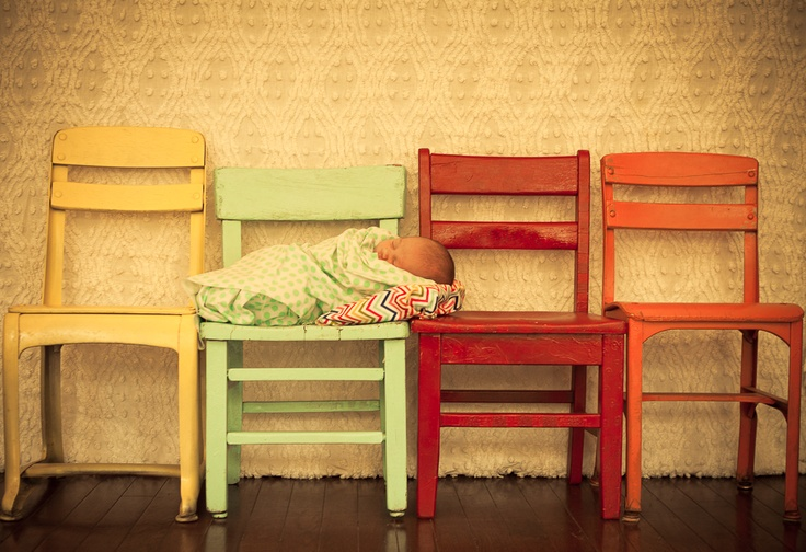 LOVE this idea..love the different chairs..different colors...oh and the baby on them...anyone what to try??!!