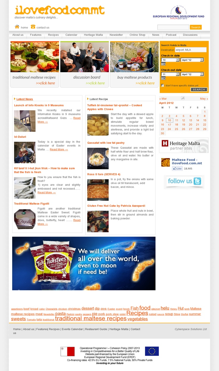 This website is dedicated to traditional maltese food. You can find recipes, videos of how to prepare Maltese mouthwatering dishes, info about local wine, wineries, cellar tours, wine tasting, food festivals and events. You can also buy Maltese products online