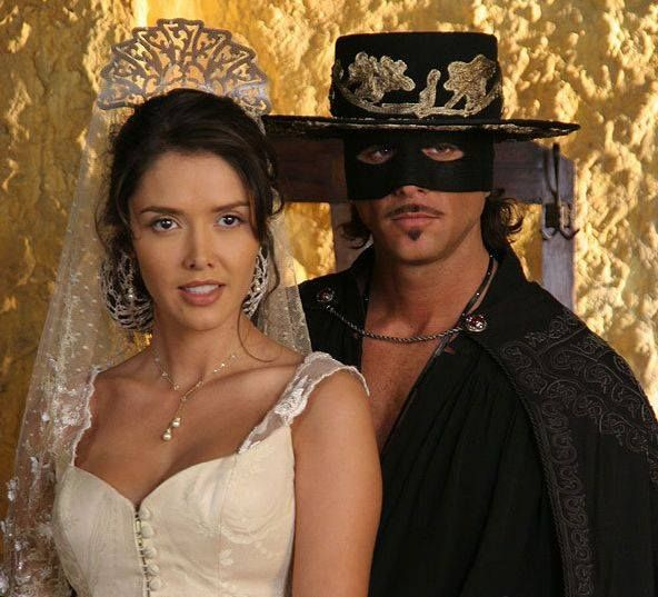 Christian Meier as Zorro and Marlene Favela as Esmeralda Sanchez de Moncada.
