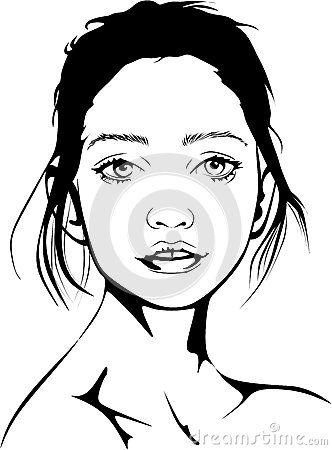 Vector line drawing of a portrait of a ballet dancer.