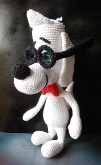 Mr. Peabody Dog about 30cm/ 11.81inches long ( from Mr. Peabody & Sherman) Free Amigurumi Pattern - PDF here: http://amilovesgurumi.files.wordpress.com/2014/04/engl-anleitung-fc3bcr-mr-peabody.pdf