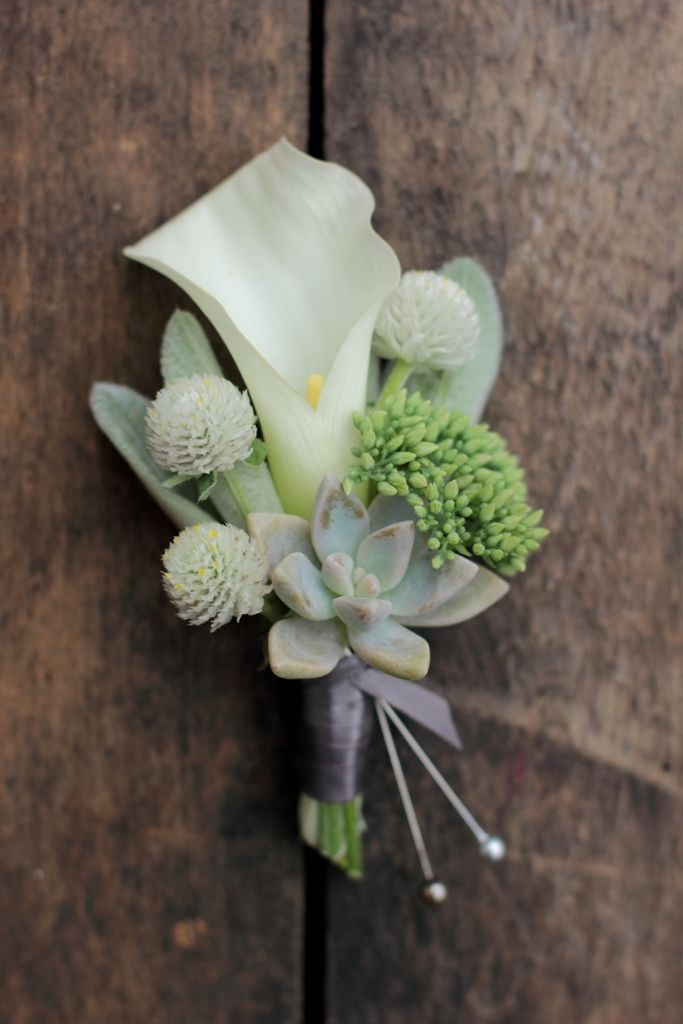 August with calla lily, succulent, gomphrena, sedum, and lambs ear