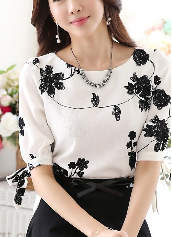 d13f798f7f4 Gender  Women Collar  O-Neck Style  Casual Pattern Type  Floral Material   Cotton