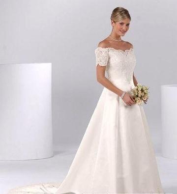 bare shoulder a line  short sleeves wedding dresses