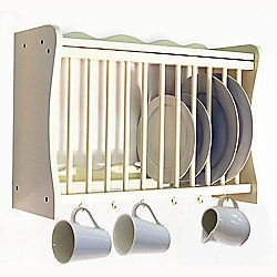 Cheshunt - Wall Mounted Kitchen Plate Cup / Storage Rack - Buttermilk
