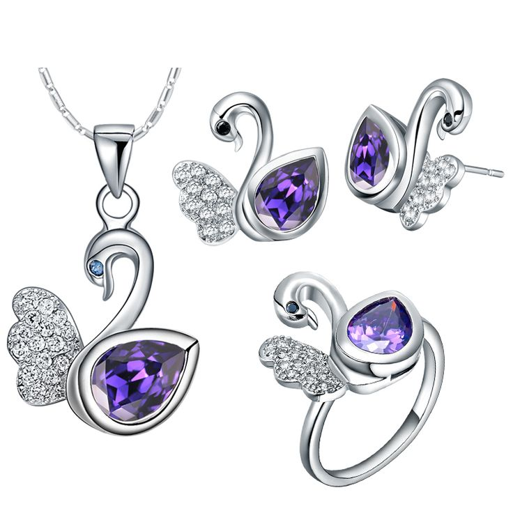 Find More Jewelry Sets Information about 2016 New Sterling Silver Wedding Bridal Jewellery Set ,Fashion Swan Wing Purple Crystal conjunto zirconia roxo Accseeories,T301,High Quality necklace card,China necklace and earring sets for bridesmaids Suppliers, Cheap necklace peacock from Ulovestore Fashion Jewelry on Aliexpress.com
