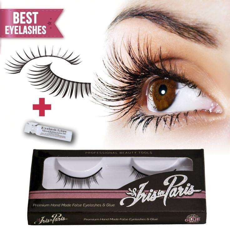 Professional False Eyelashes with Glue Set By Iris in Paris - Thin and Natural - Perfect for Beginners - Reusable - Kim Kardashian's Choice Natural Fake Eyelashes