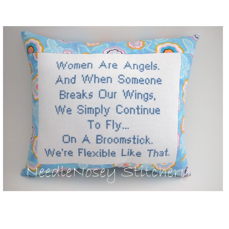 Funny Cross Stitch Pillow, Funny Quote, Blue Pillow, Women Are Angels Quote. $20.00, via Etsy.
