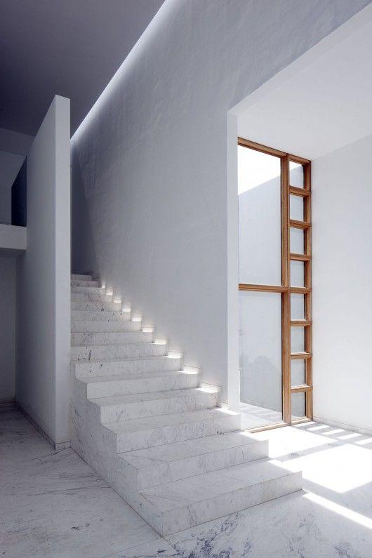 #architecture #design #interior design #stairs #style #white #marble floors - AR House / Lucio Muniain et al