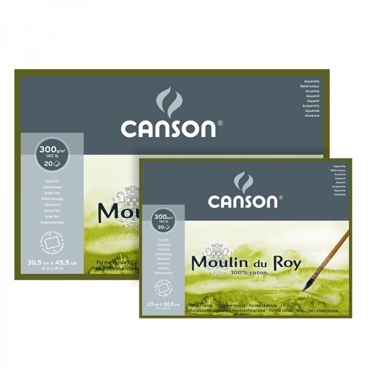 Canson Moulin du Roy is a 100% cotton French watercolour paper. Produced on a traditional cylinder mould machine, this paper has the look and feel of a handmade paper.