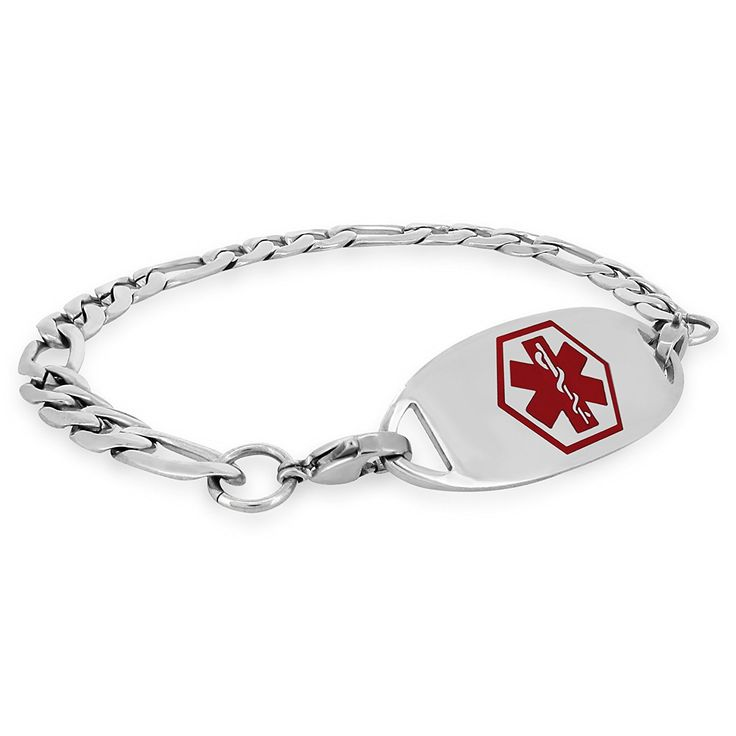 MedicEngraved Custom 316L St. Steel Medical ID Bracelet with Red Enamel Tag Engraving Included *** Want to know more, click on the image.