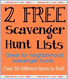 Free Scavenger Hunt Lists