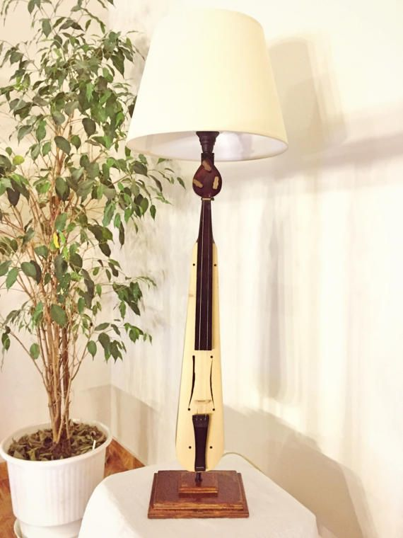 Lyre lamp by MusicLampsArt on Etsy