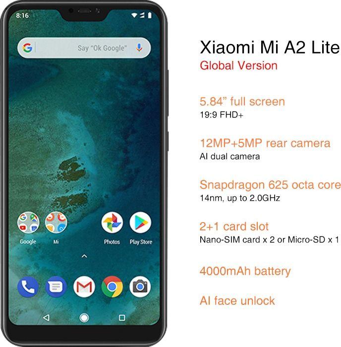 Face Unlock Cellphone Xiaomi Mi A2 Lite Android One Xiaomi Unlock