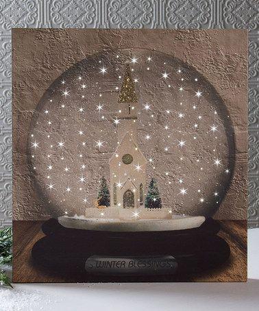 Look at this #zulilyfind! Snowing Snow Globe Lighted Canvas #zulilyfinds