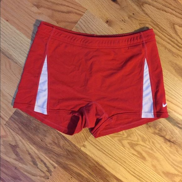 Red Nike Spandex Shorts Work once at most! Excellent condition with no flaws Nike Shorts