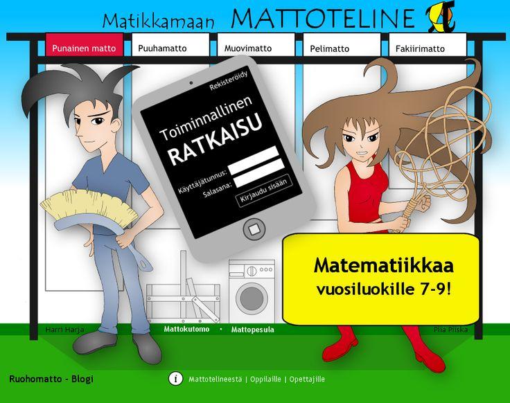 Matikkamaan MATTOTELINE. Suomenkielistä opetusmateriaalia matikan opetukseen. Vaikka alunperin tarkoitettu yläkouluun, soveltuu myös alakoulun opetukseen.