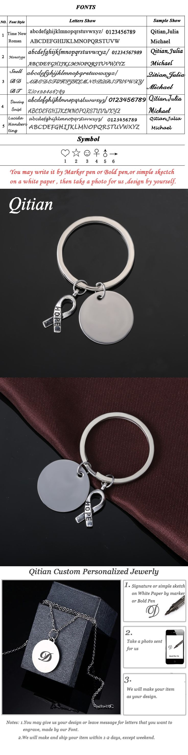 Qitian DIY Free Engraved Custom Key Chains Stainless Steel Round Hope Metal Ribbon Charm KeyChain Jewlery Perisonlized Gifts