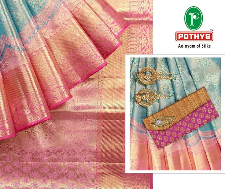 "161 Likes, 8 Comments - @pothysofficial on Instagram: ""When you adorn yourself in this glorious Samudrika silk saree in shimmering blue & pink, couple it…"""