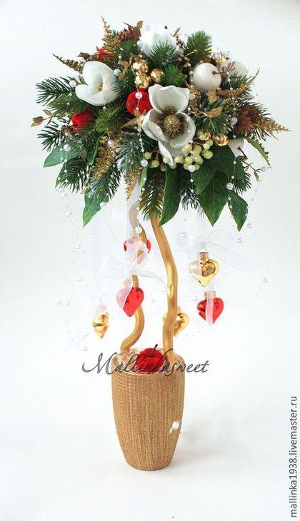"""Nový rok 2015 ruční práce.  Objednat Topiary, vánoční strom Wait """"Magnolia"""".  Kytice z bonbónů a topiary.  Fair Masters."""